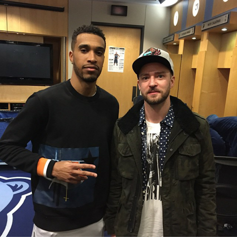 Grizzlies Player Courtney Lee and Justin Timberlake