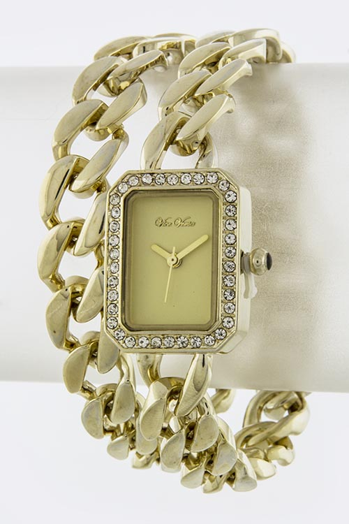 Square Watch and Chain Duo Watch 4441W